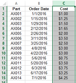 Selecting Data for Conditional Formatting