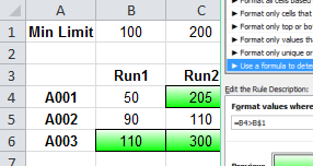 Conditional Formatting using mixed references
